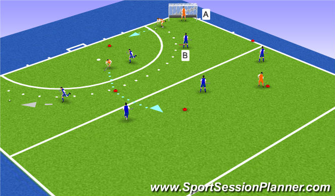 Hockey Session Plan Drill (Colour): Dribbling, passing
