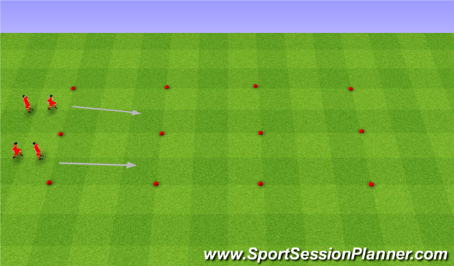 Football/Soccer Session Plan Drill (Colour): Dribbling warm up. Rozgrewka.