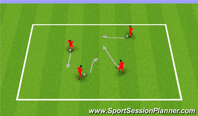 Football/Soccer Session Plan Drill (Colour): Close control and dribbling. Prowadzenie piłki.