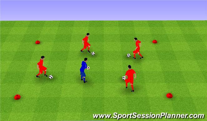 Football/Soccer Session Plan Drill (Colour): Dribbling game. Gra z prowadzeniem piłki.