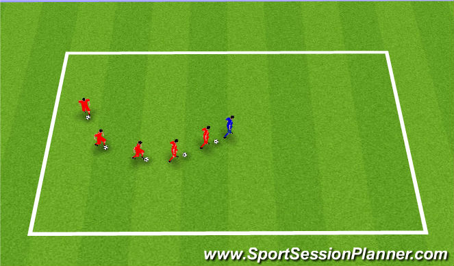 Football/Soccer Session Plan Drill (Colour): Follow The Leader. Wąż.