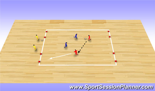Futsal Session Plan Drill (Colour): 2v2 To Two Wide Goals