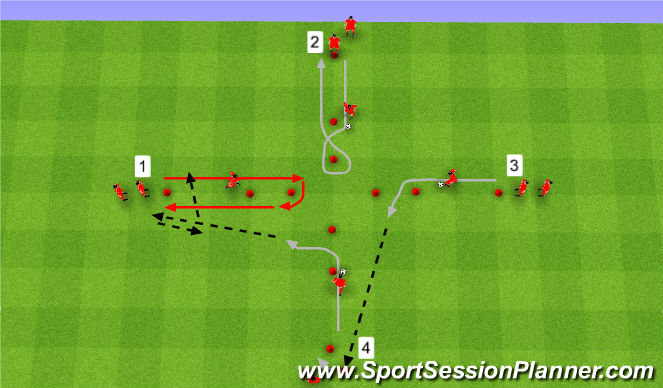 Football/Soccer Session Plan Drill (Colour): Warm up  & combination play