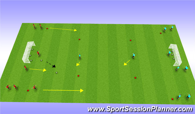 Football/Soccer Session Plan Drill (Colour): Introduce Wingers