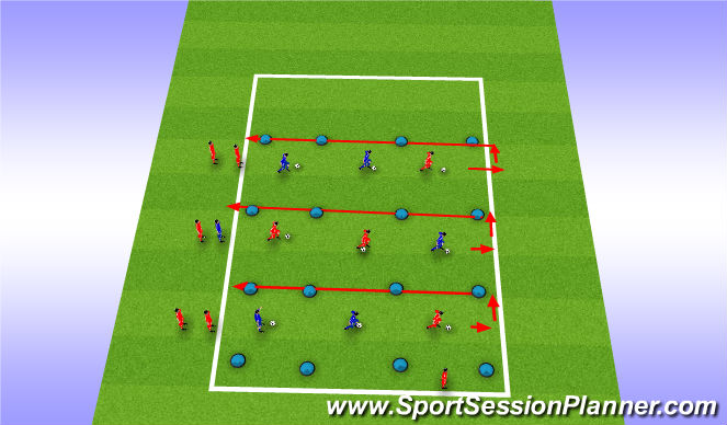 Football/Soccer Session Plan Drill (Colour): Fast-Footwork Warm Up