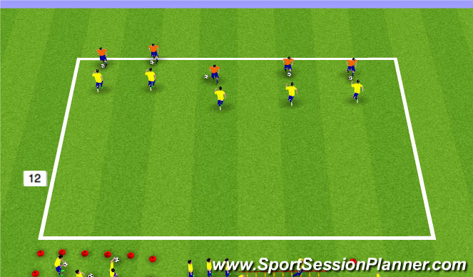 Football/Soccer Session Plan Drill (Colour): Warm Up/1v1 Defending