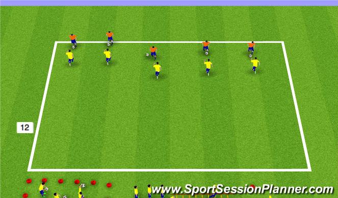Football/Soccer Session Plan Drill (Colour): Warm Up/1v1 Defending