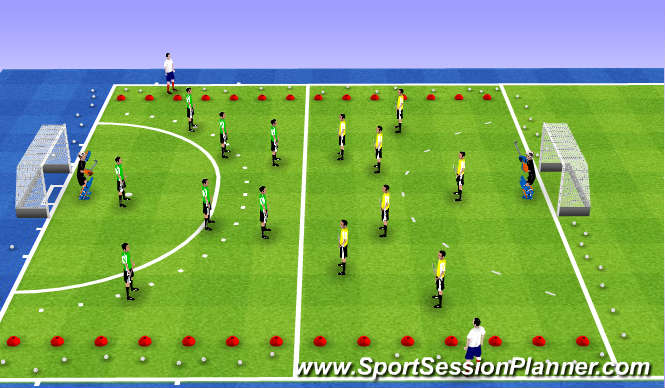 Hockey Session Plan Drill (Colour): 8v8 half field