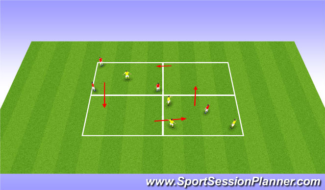 Football/Soccer Session Plan Drill (Colour): 3v1 Chase