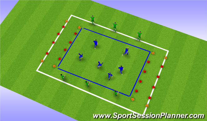 Football/Soccer Session Plan Drill (Colour): Spel tegen de papa/mama's