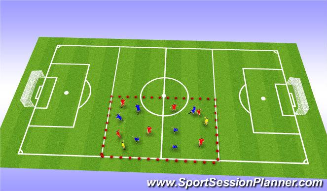 Football/Soccer Session Plan Drill (Colour): 6v6 +2 Possession Drill