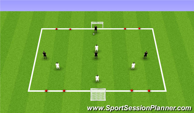 Football/Soccer Session Plan Drill (Colour): 4v4 scrimmage