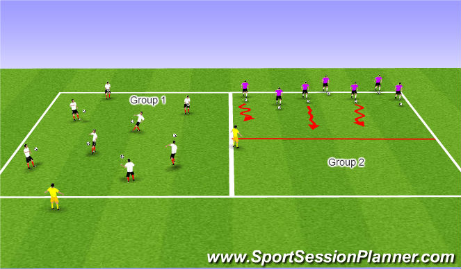 Football/Soccer Session Plan Drill (Colour): Phase1 - Warm-Up