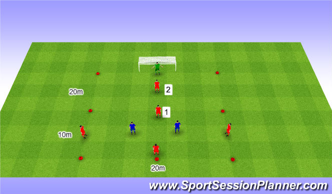 Football/Soccer Session Plan Drill (Colour): 4v2+1 in zones. 4v2+1 w strefach.