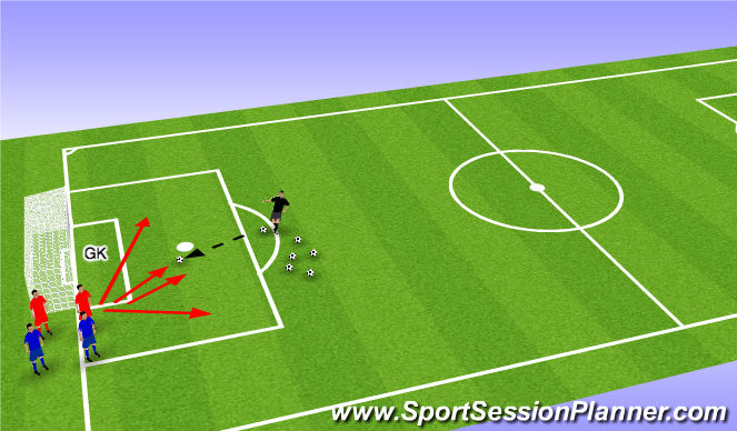 Football/Soccer Session Plan Drill (Colour): 2 v 2:  round 1