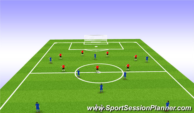 Football/Soccer Session Plan Drill (Colour): 6 v 8 Attacking play