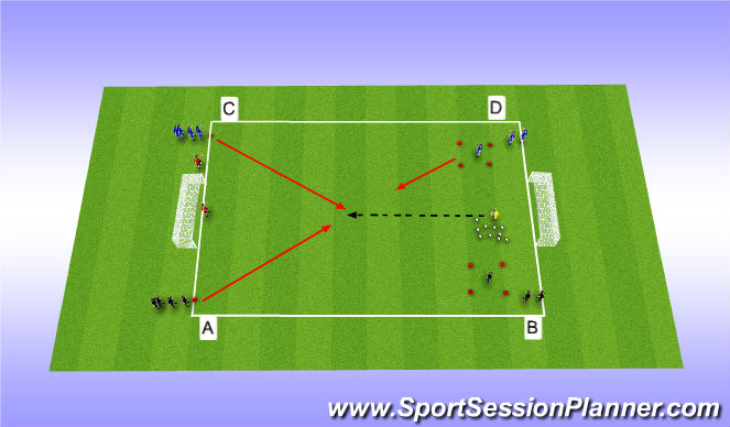 Football/Soccer Session Plan Drill (Colour): Game Related - 2v1