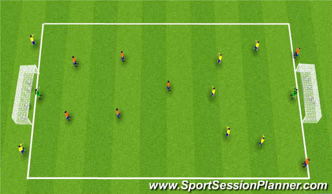 Football/Soccer Session Plan Drill (Colour): Stöð 4: Conditioned Game