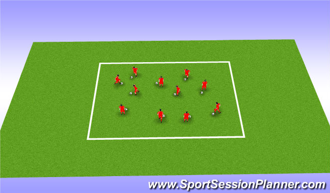 Football/Soccer Session Plan Drill (Colour): Warm up with ball