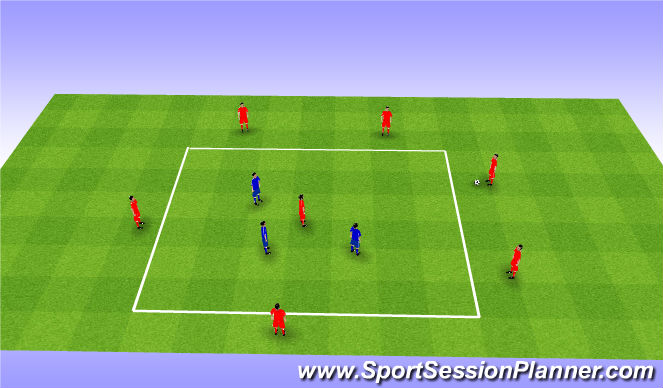Football/Soccer Session Plan Drill (Colour): Rondo 4v2+1. Dziadek 6v3+1