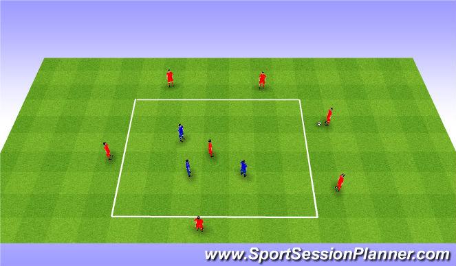 Football/Soccer Session Plan Drill (Colour): Rondo 6v3+1. Dziadek 6v3+1