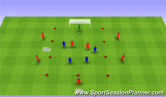 Football/Soccer Session Plan Drill (Colour): 8v4 game. Gra 8v4.