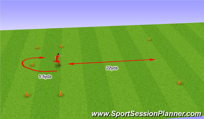 Football/Soccer Session Plan Drill (Colour): Yo-Yo Intermittent Recovery Test