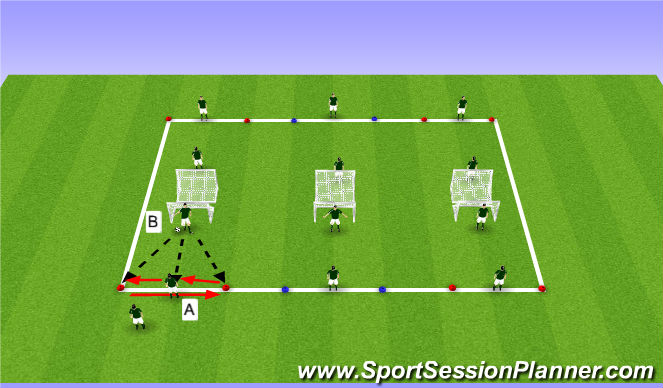 Football/Soccer Session Plan Drill (Colour): Lateral movement and 1v1 intro