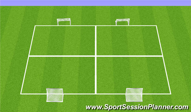 Football/Soccer Session Plan Drill (Colour): 4 goal peneration game