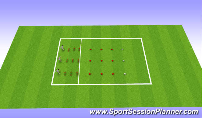 Football/Soccer Session Plan Drill (Colour): Braking Ladder Shuttles