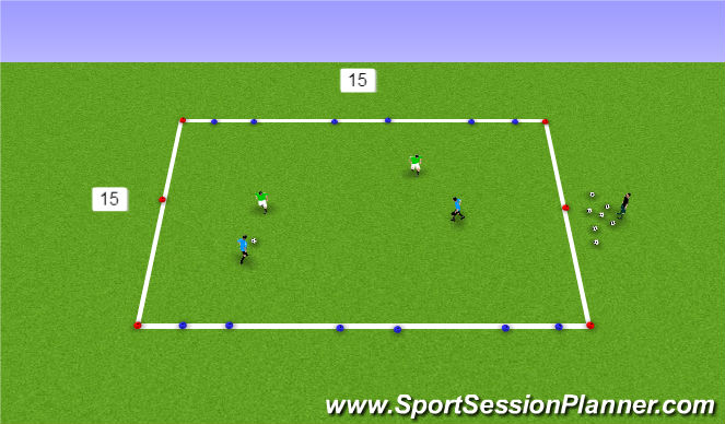 Football/Soccer Session Plan Drill (Colour): 2 v 2 to 3 goals