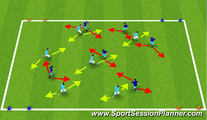 Football/Soccer Session Plan Drill (Colour): Diagonal 6v6 Game