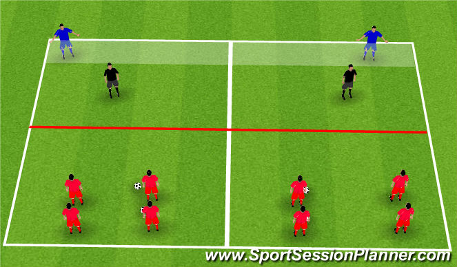 Football/Soccer Session Plan Drill (Colour): Passing and Moving Opposed