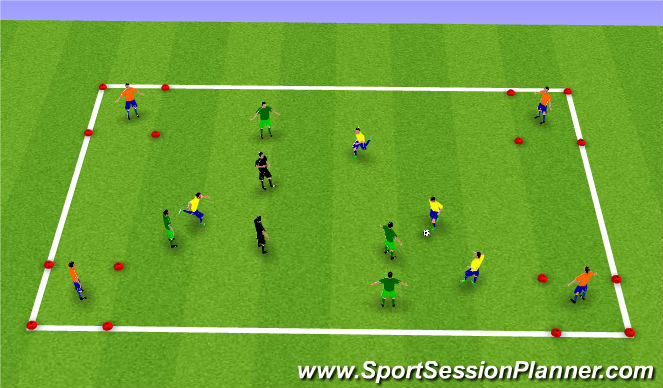 Football/Soccer Session Plan Drill (Colour): Four Corner Possession Game
