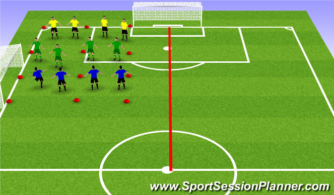 Football/Soccer Session Plan Drill (Colour): Back Four Shape