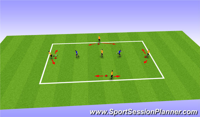 Football/Soccer Session Plan Drill (Colour): Diamond Pattern with Opponents