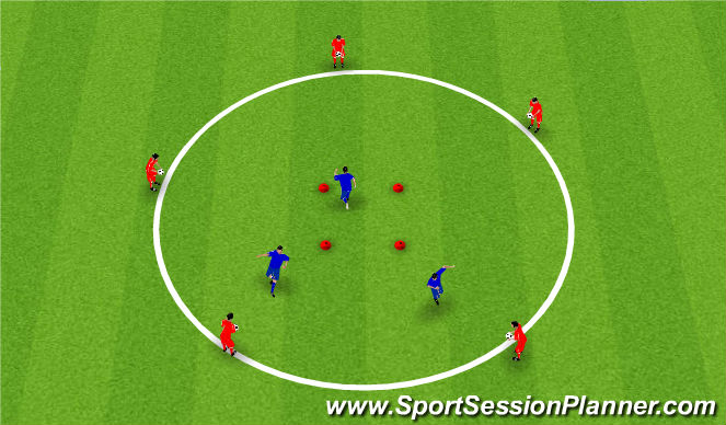 Football/Soccer Session Plan Drill (Colour): Warm up/ Tech