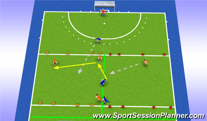 Hockey Session Plan Drill (Colour): Trainingsdeel 1