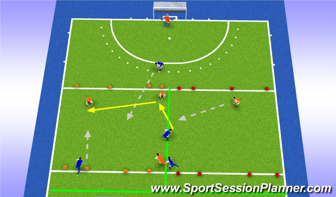 Hockey Session Plan Drill (Colour): Trainingsdeel 1 variatie