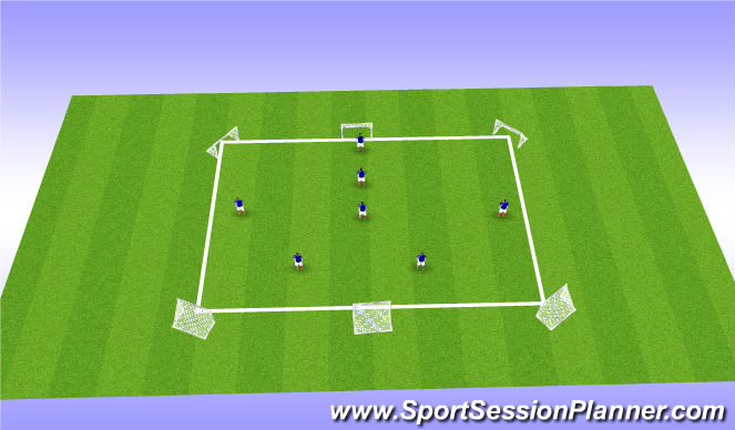 Football/Soccer Session Plan Drill (Colour): 7v7 to 6 goals
