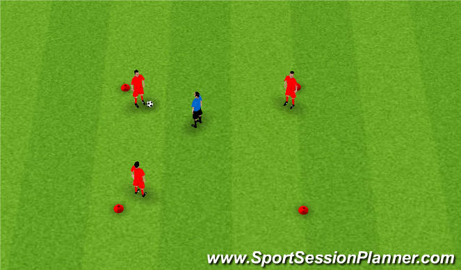 Football/Soccer Session Plan Drill (Colour): 3 v 1 Monkey in Middle