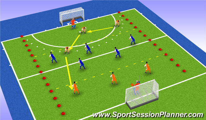 Hockey Session Plan Drill (Colour): Interceptie + turnover