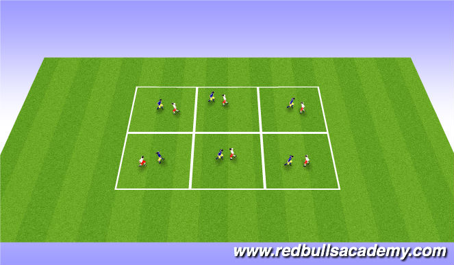 Football/Soccer Session Plan Drill (Colour): Fencing warn-up(body shape)