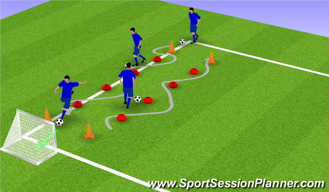 Football/Soccer Session Plan Drill (Colour): Slalom met afwerken