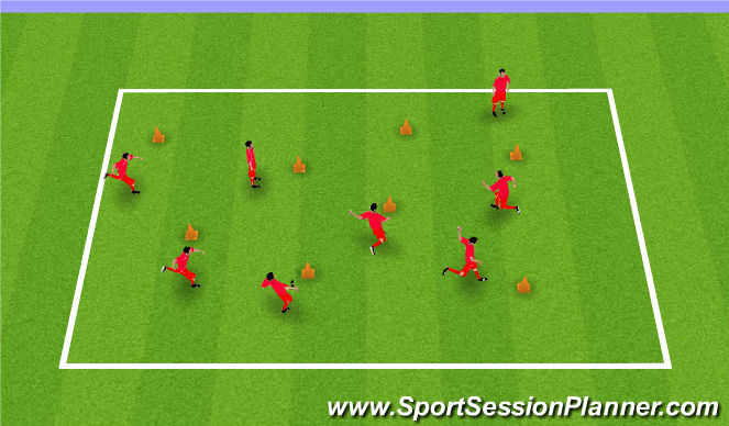 Football/Soccer Session Plan Drill (Colour): Kick The Cone