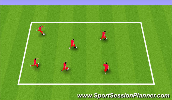 Football/Soccer Session Plan Drill (Colour): Unopposed Dribbling Practice