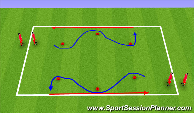 Football/Soccer Session Plan Drill (Colour): Dribbling Relay
