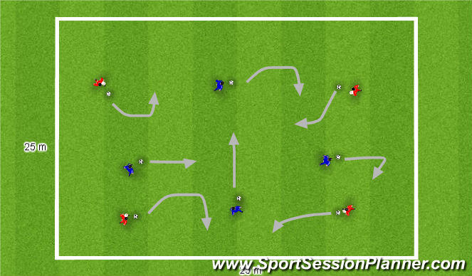 Football/Soccer Session Plan Drill (Colour): Dribbling and changing direction