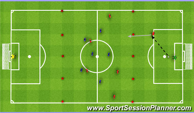 Football/Soccer Session Plan Drill (Colour): Breakout game. Gra z kontry.