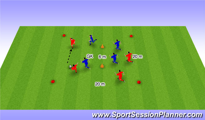Football/Soccer Session Plan Drill (Colour): 4 v 4 from 2 sides of the goal